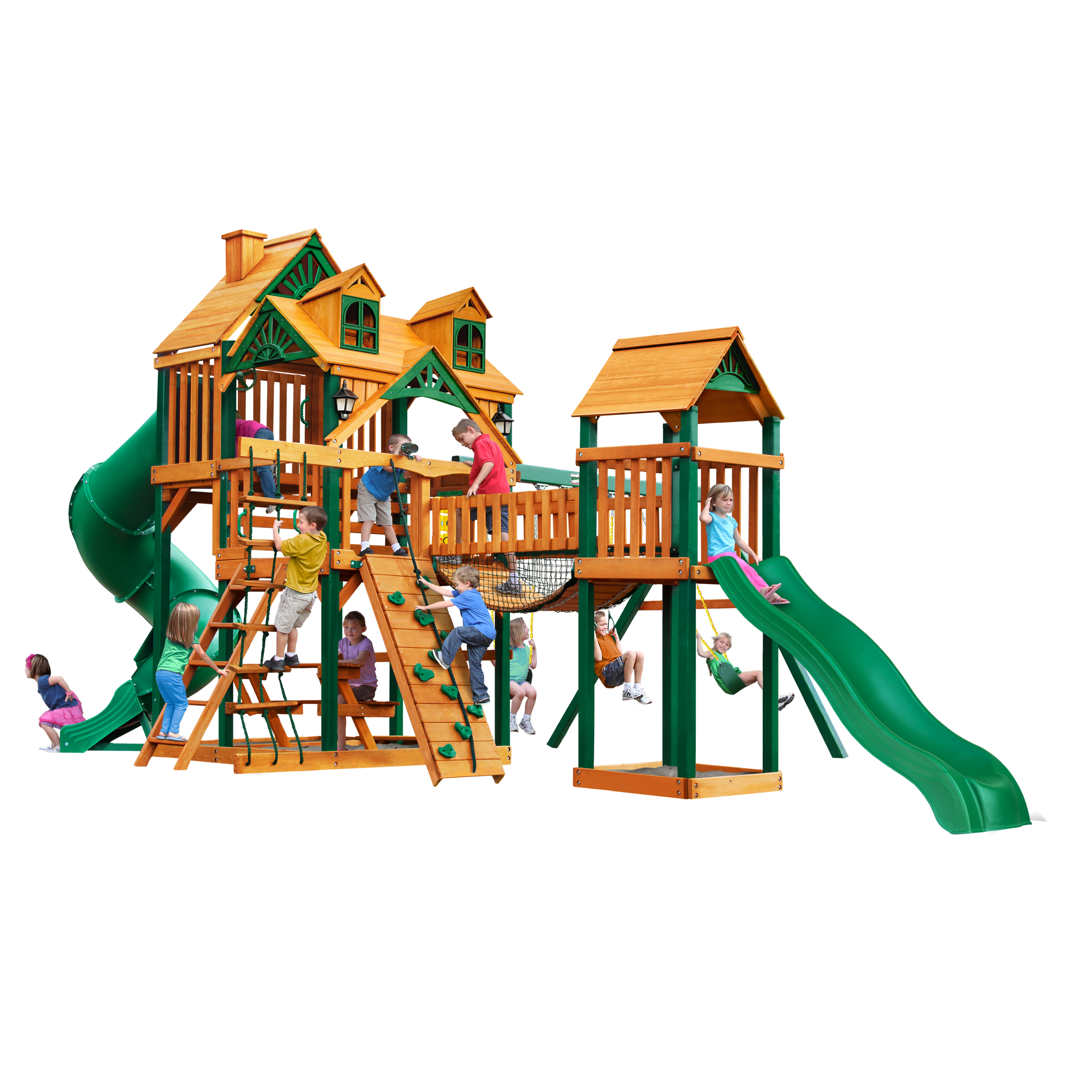 Gorilla Playsets Treasure Trove I Cedar Swing Set with Malibu Wood Roof and Timber Shield™ Posts