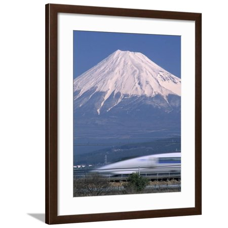 Mount Fuji and Bullet Train (Shinkansen), Honshu, Japan Framed Print Wall Art By Steve Vidler Bullet Train Mount Fuji Japan