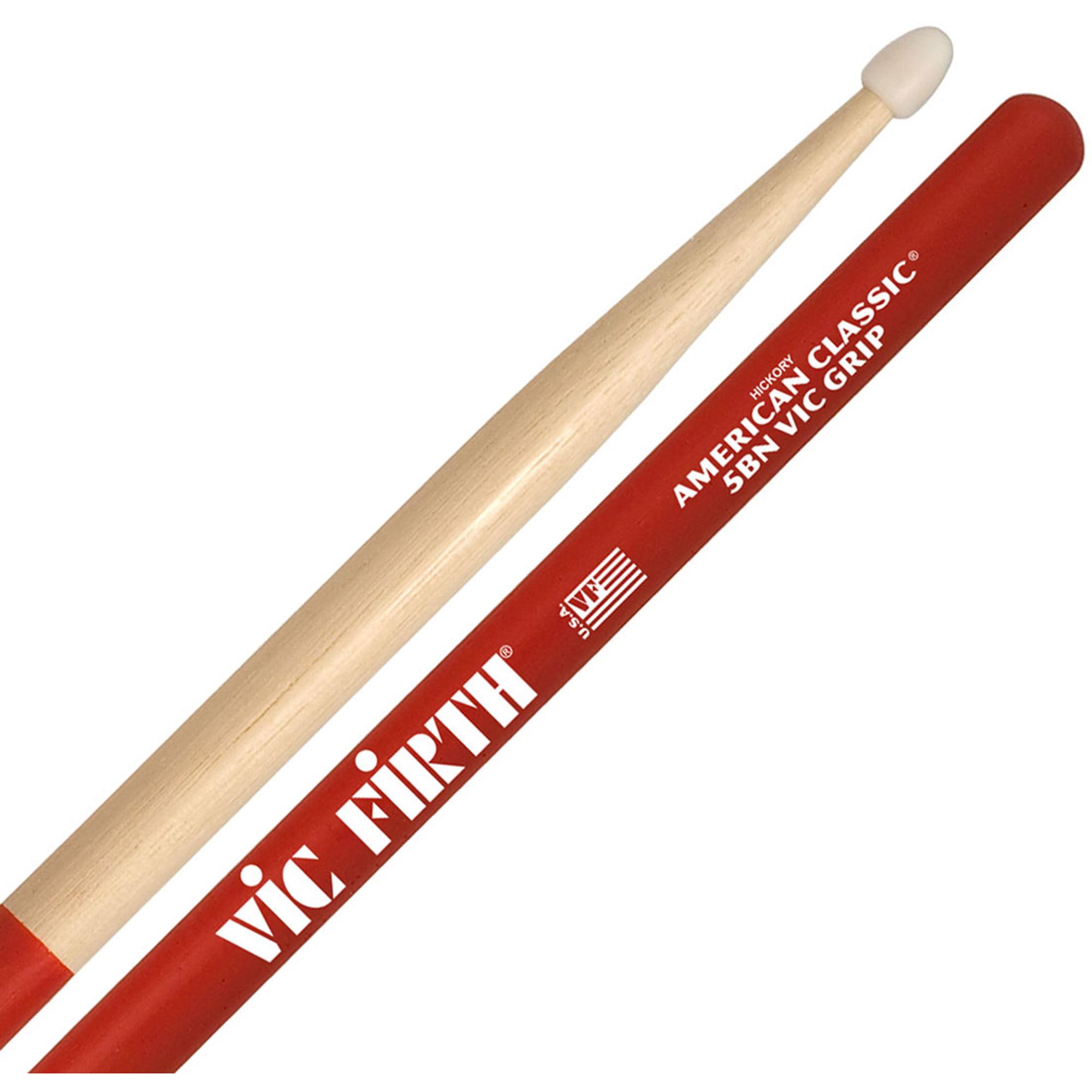 Vic Firth 5BNVG American Classic 5B Nylon Tip Drumsticks w  Vic Grip by Vic Firth