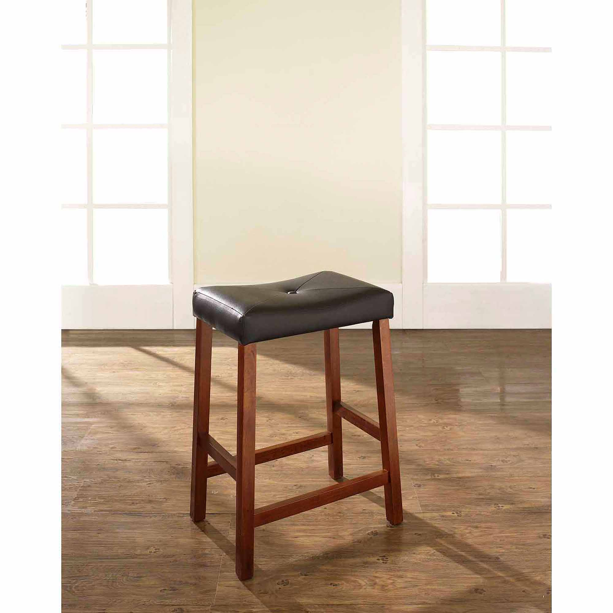 "Crosley Furniture Upholstered Saddle Seat Bar Stool with 24"" Seat"