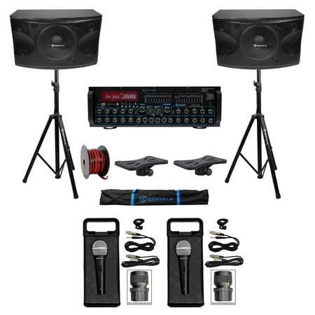 "Rockville Karaoke Machine System w/ Pair 12"" Speakers+Bluetooth Mixer Amp+Mics"