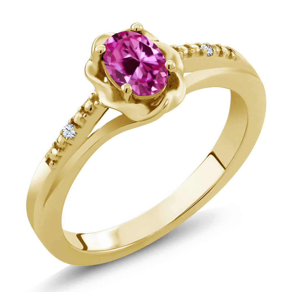 0.52 Ct Oval Pink Created Sapphire White Topaz 18K Yellow Gold Ring by