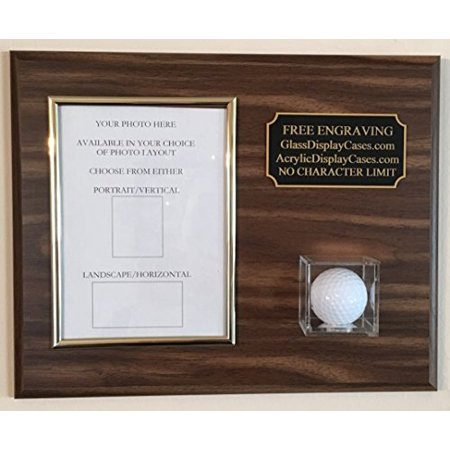 """Golf Ball and 5""""x7"""" Photo Hole In One - Eagle - Best Round - Game Vertical or Horizontal Choice Personalized Display Case Plaque Wood Color Choice"""
