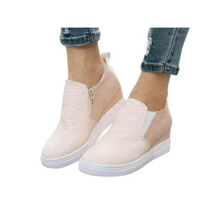 Lacyhop Women Breathable Slip On Trainers Loafers Ladies Wedge Heel Sneakers Comfy Shoes