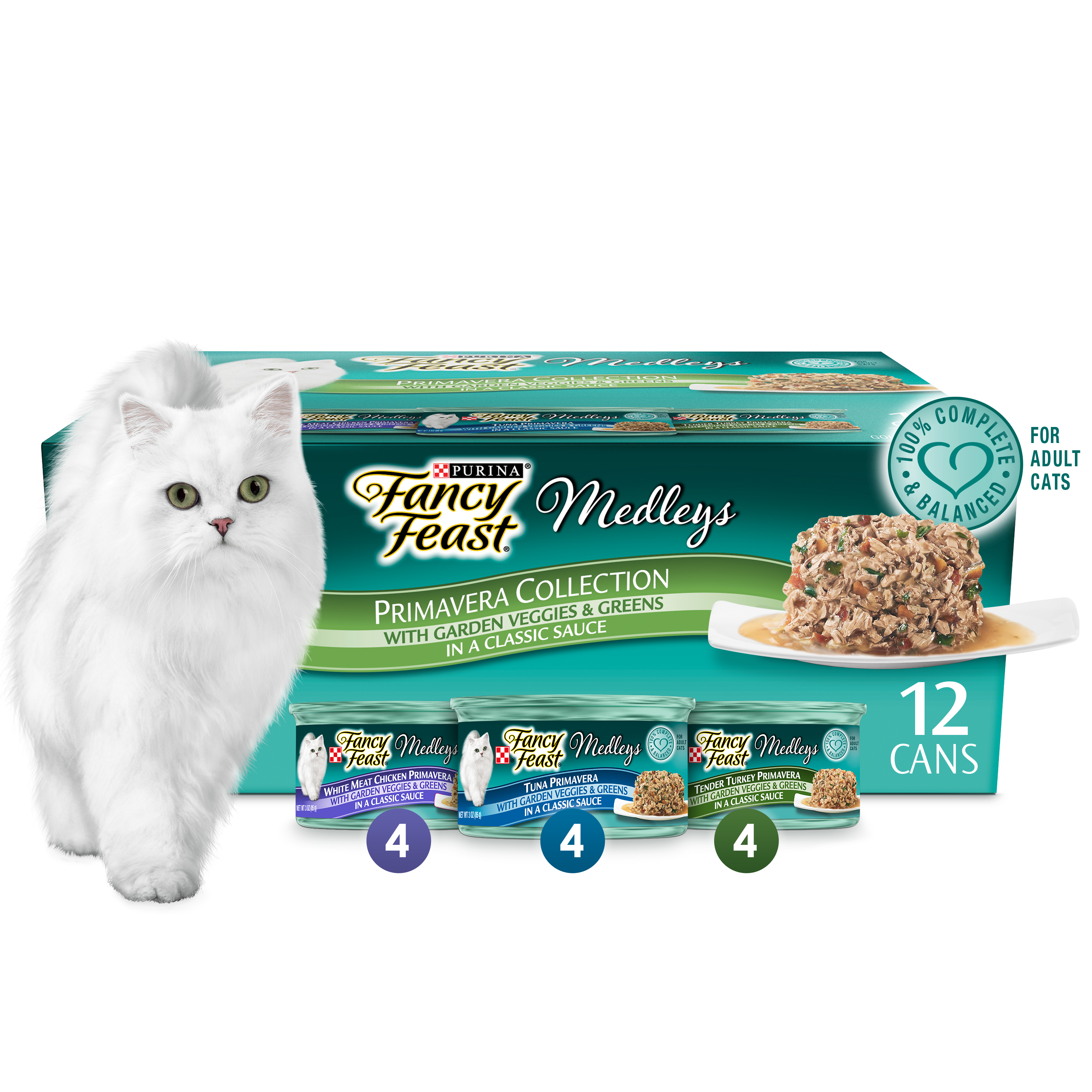 (12 Pack) Fancy Feast Gravy Wet Cat Food Variety Pack, Medleys Primavera Collection, 3 oz. Cans by Nestlé Purina PetCare Company