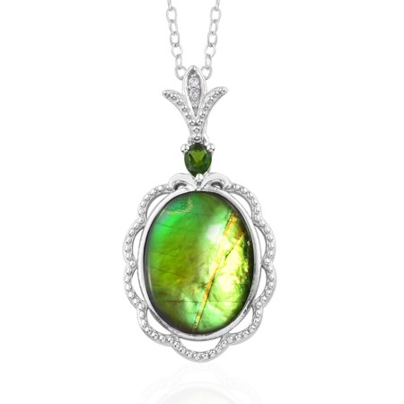 """Chain Pendant Necklace Silver Ammolite Chrome Diopside Gift for Women Size 20"""""""