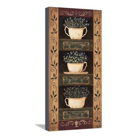 Teacup Herbs I Stretched Canvas Print Wall Art By Jo Moulton
