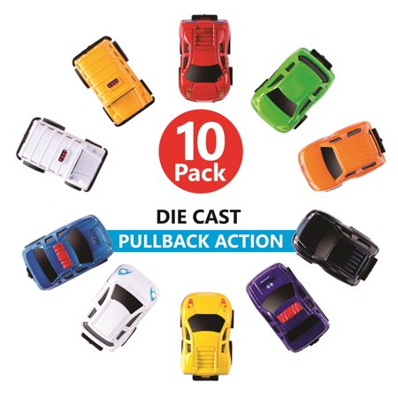 Die-cast Cars, Pull Back Action Vehicles for Toddlers & Kids 10 PCS Set - Friction Powered-Bright Colored, Great for Play and party Favors.
