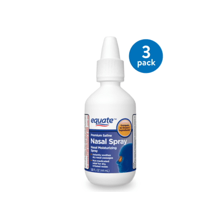 (3 Pack) Equate Premium Saline Nasal Spray, 1.5 Oz (Saline Spray)
