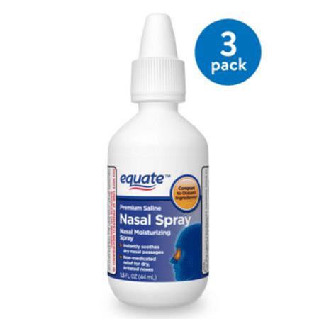 (3 Pack) Equate Premium Saline Nasal Spray, 1.5 Oz