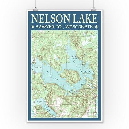 Nelson Lake Chart - Sawyer County, Wisconsin - Lantern Press Poster (9x12 Art Print, Wall Decor Travel (Chart Art Poster)