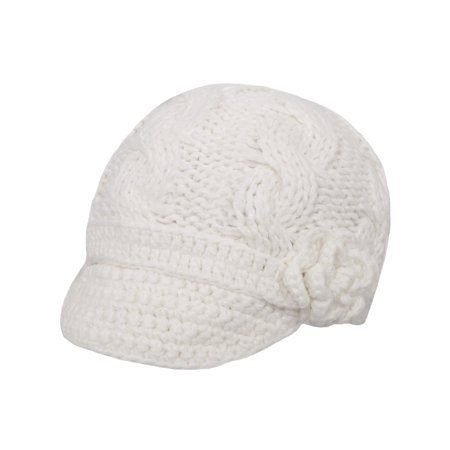 bc510e548a2 Simplicity - Women White Crochet Front Brim Winter Hat with Flower ...