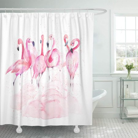 KSADK Colorful Abstract Watercolor Flamingos with Splash Pink Animal Aquarelle Beach Bathroom Shower Curtain 60x72 inch