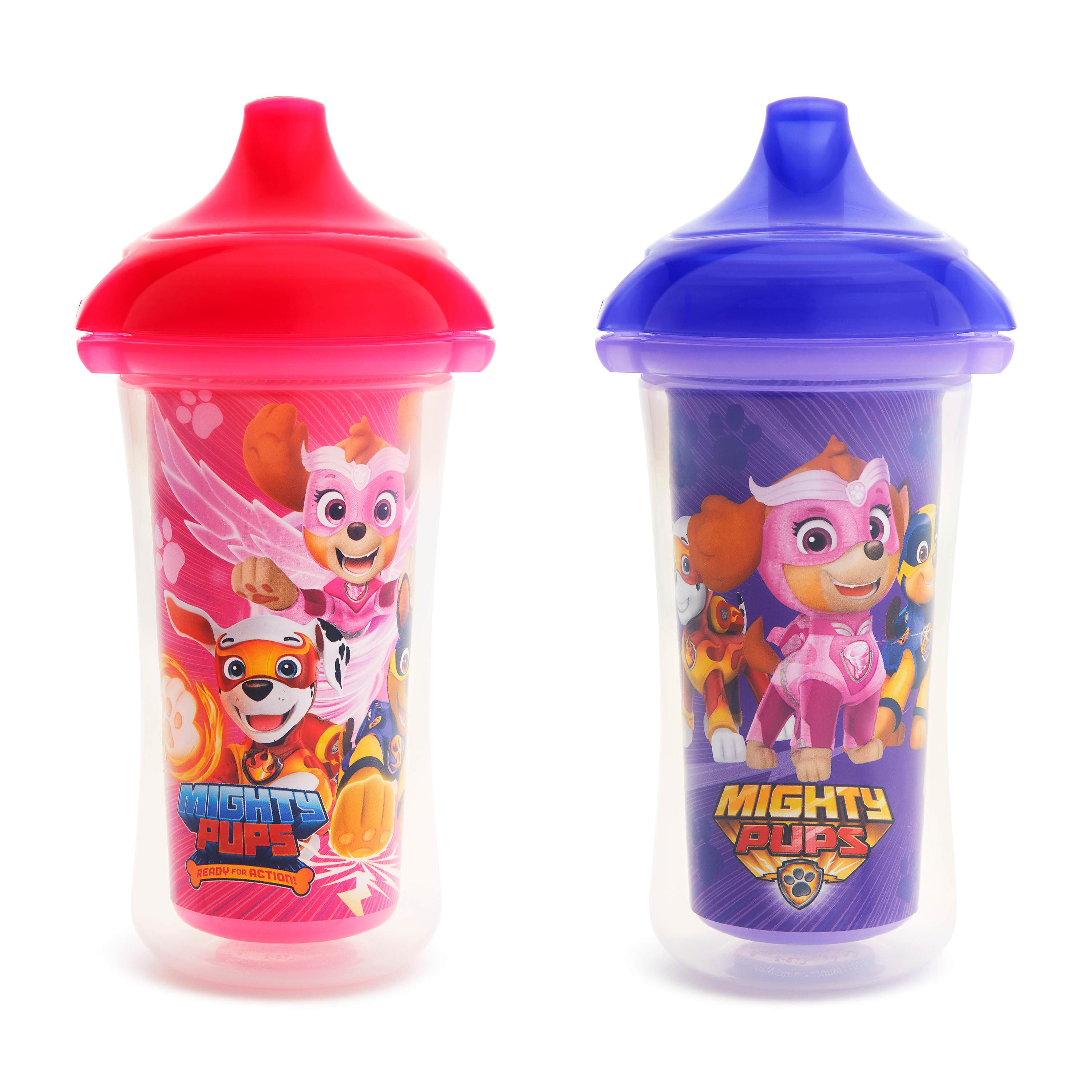 Munchkin Paw Patrol Mighty Pups Insulated Sippy Cup, 9 Ounce, 2 Pack, Pink/Purple