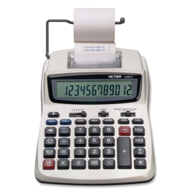 Victor Technologies 12082 1208-2 Two-Color Compact Printing Calculator, Black/Red Print, 2.3 Lines/Sec
