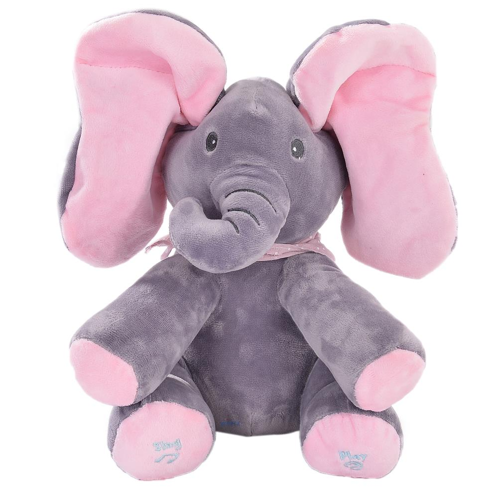 Emily the Elephant Animated Plush Singing Elephant with Peek-a-boo Interactive Feature by Dimple