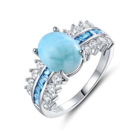 Rhodium Plated with Sterling Silver Lab Created Larimar and Blue Sapphire Cocktail Ring (Sapphire Rhodium Plated)