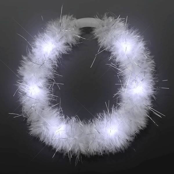LED White Feather Angel Halo Crown Headband by Blinkee