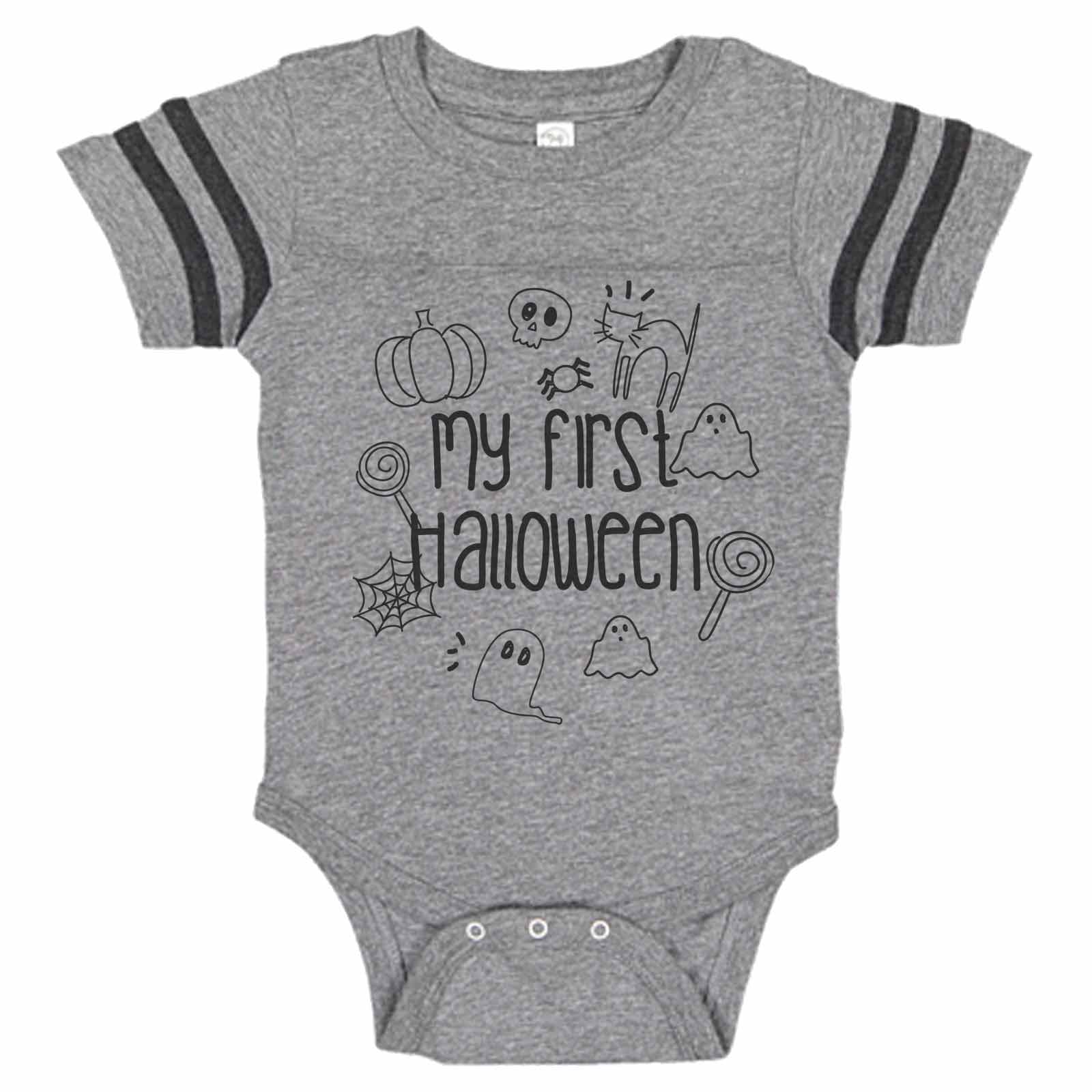 Cutest Pumpkin in the Patch Infant Baseball raglan style bodysuits Perfect for the baby boy or baby girl for Halloween trick or treating!