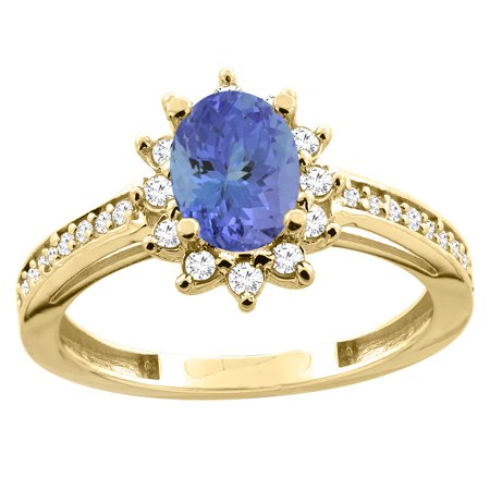 14K Yellow Gold Diamond Natural Tanzanite Floral Halo Engagement Ring Oval 7x5mm, size 6.5