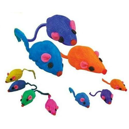 - Zanies 20 x Cat Toy Rainbow Fur Mice That Rattle by