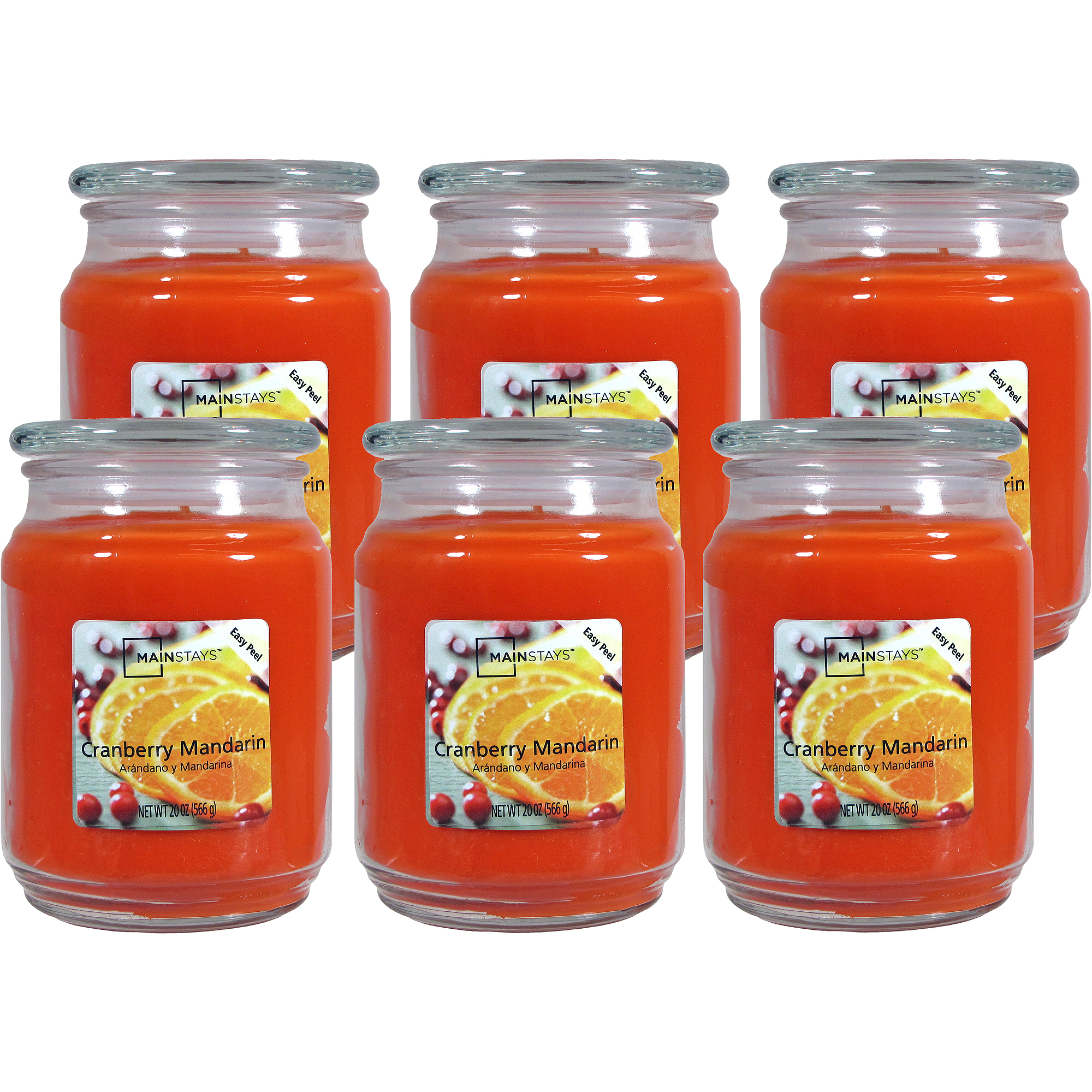 Mainstays 20-oz. Jar Candle, Cranberry Mandarin, Set of 6