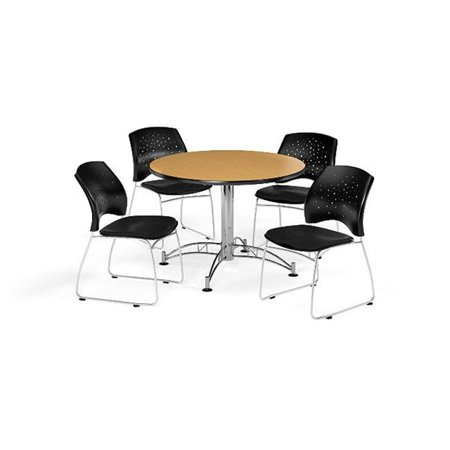 Ofm Pkg Brk 168 0064 Breakroom Package Featuring 42 In  Round Multi Purpose Table With Four Stars Stack Chairs