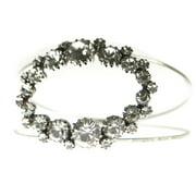 Oval Double Band Crystal Bangle Bracelet, White