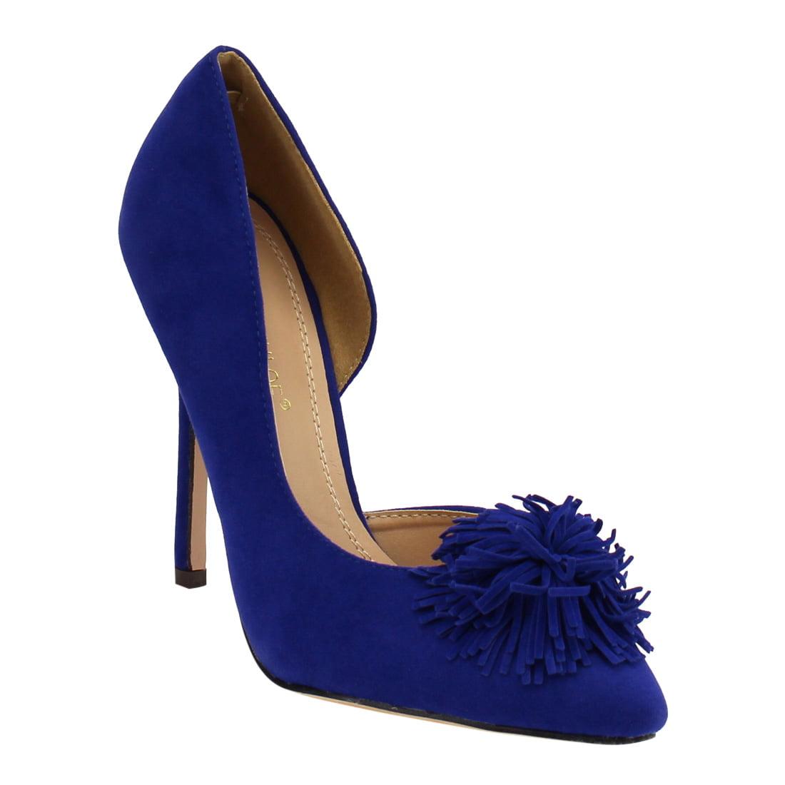 Chase & Chloe EF97 Women's High Stiletto Heel Fringe D'or...