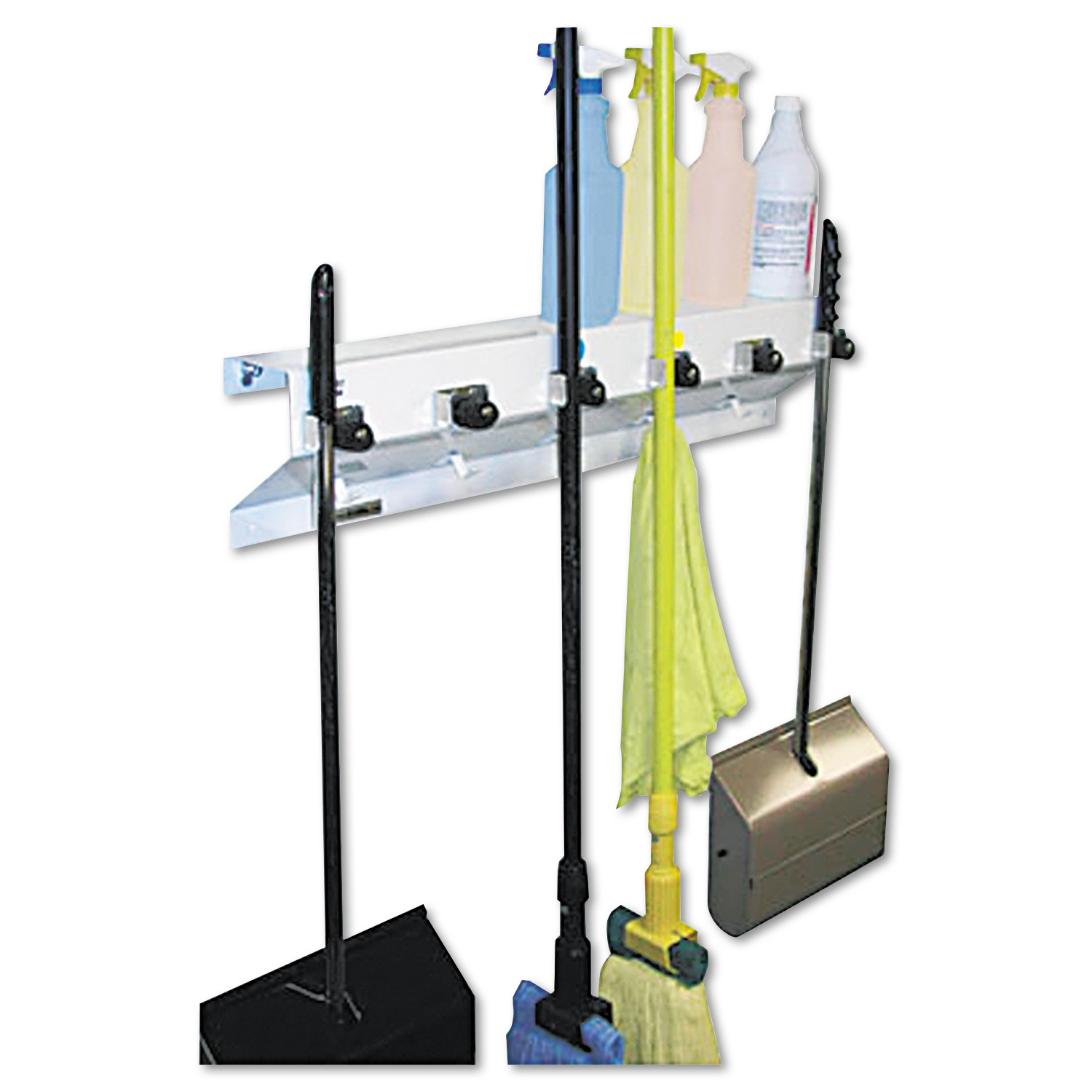 "Ex-Cell The Clincher Mop & Broom Holder, 34""w x 5 1/2""d x 7 1/2""h, White Gloss, Each"