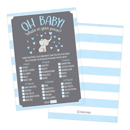 25 Blue Elephant What's In Your Purse Baby Shower Game, Funny Idea Coed Couples Game For Baby Party, Fun Woodland Themed Bundle Pack of Cards To Play at Boy Gender Kids Decorations and Supplies (Baby Theme Ideas)