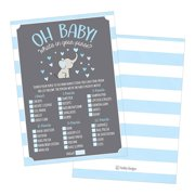 25 Blue Elephant What's In Your Purse Baby Shower Game, Funny Idea Coed Couples Game For Baby Party, Fun Woodland Themed Bundle Pack of Cards To Play at Boy Gender Kids Decorations and Supplies