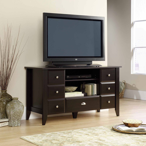 """Sauder Shoal Creek Jamocha Wood Entertainment Credenza, for TVs up to 53"""" by Sauder Woodworking"""