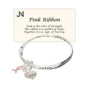 Pink Ribbon Hope Strength Victory Bracelet Heart Charm Inspire by Jewelry Nexus