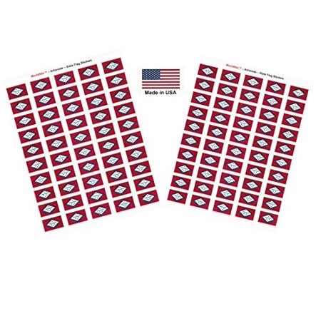 """Made in USA! 100 Arkansas 1.5"""" x 1"""" Self Adhesive State Flag Stickers, Two Sheets of 50, 100 Arkansas Sticker Flags Total"""