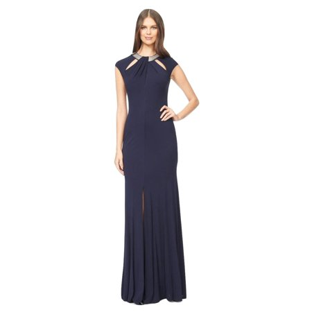David Meister Embellished Cutout Jersey Evening Gown Dress](David Dress)