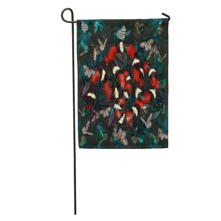 KDAGR Snake Alternating Red Black Yellow and Smooth Shiny Scales Butterflies Garden Flag Decorative Flag House Banner 12x18 inch - Black Red And Yellow Flag