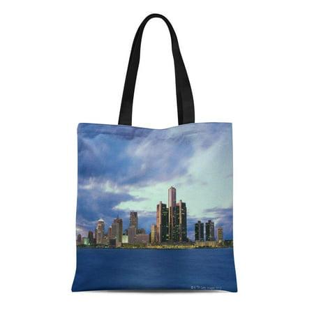 SIDONKU Canvas Tote Bag Blue City September From Windsor Ontario Travel Destinations Outdoors Reusable Handbag Shoulder Grocery Shopping Bags (Halloween Stores Ontario)