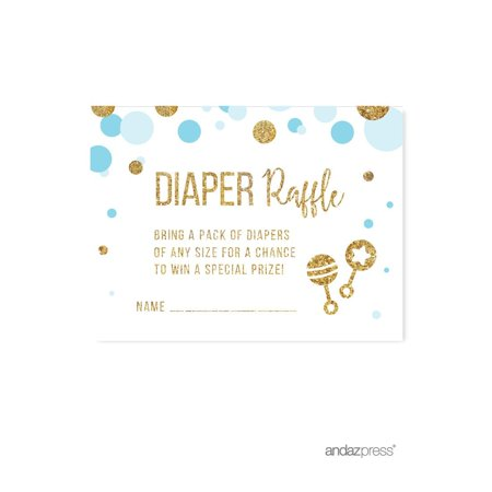Diaper Raffle Cards Baby Blue Gold Glitter Baby Shower Game Cards, 30-Pack - Baby Shower Diaper Raffle