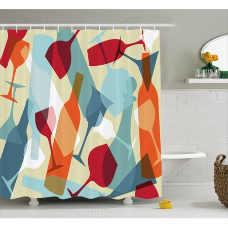 Wine Shower Curtain Modern Design Colorful Silhouettes Of Glasses Bottles Fun Party Artistic Fabric Bathroom Set With Hooks Pale Blue Ruby Orange