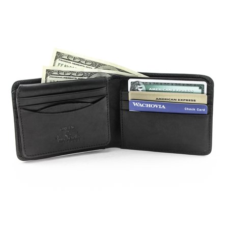 Tony Perotti Italian Leather Classic Bifold Wallet with ID Window Flap in Black
