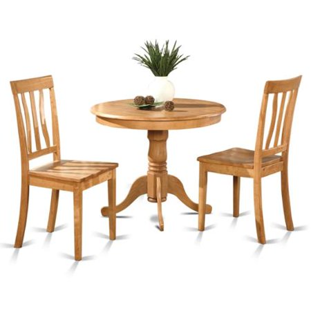 Oak Small Kitchen Table Plus 2 Chairs 3-piece Dining Set Wood seat