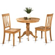 Oak Small Kitchen Table Plus 2 Chairs 3 Piece Dining Set Wood Seat