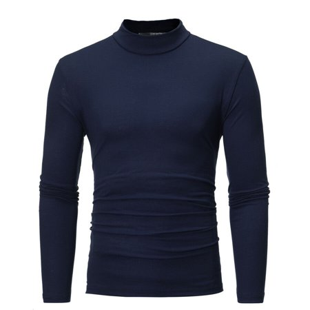 MENS ROLL NECK LONG SLEEVE COTTON TOP TURTLE NECK BASIC T SHIRTS Basic Cotton Long Sleeve Tee