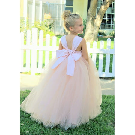 Ekidsbridal Sweetheart Neck Cotton Blush Pink Tutu Flower Girl Dresses Ball Gown Princess Dresses Formal Dress 171