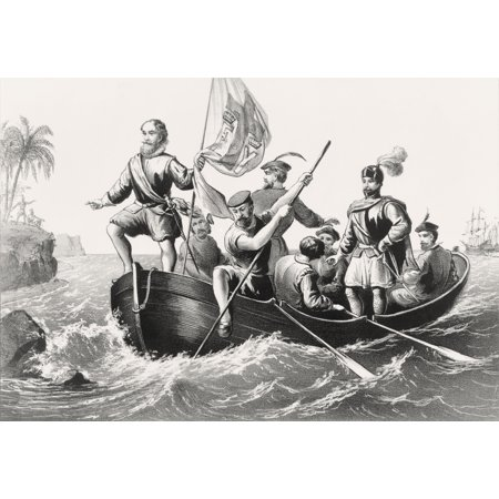 Christopher Columbus Setting Foot In San Salvador October 12 1492 From An Engraving Printed In 1876 Canvas Art - Ken Welsh  Design Pics (34 x