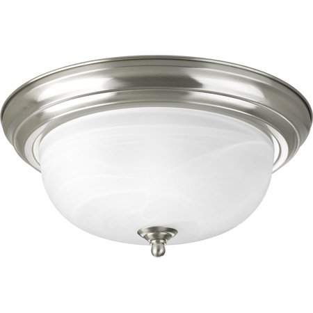 P3925-09 Two Light Flush Mount, Brushed Nickel Finish with Etched Alabaster Glass, Alabaster glass with brushed nickel trim By Progress Lighting