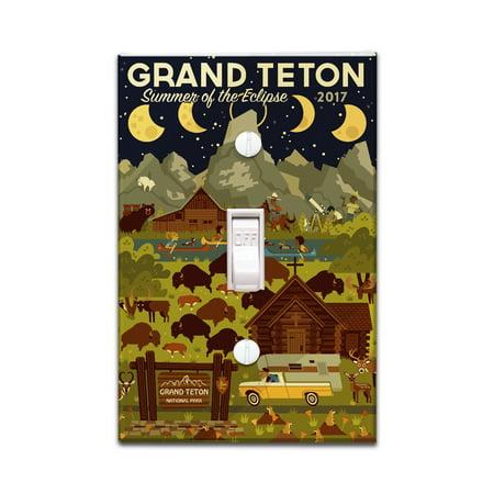 Grand Teton National Park, Wyoming - Summer of the Eclipse - Geometric - Lantern Press Artwork (Light Switchplate Cover)