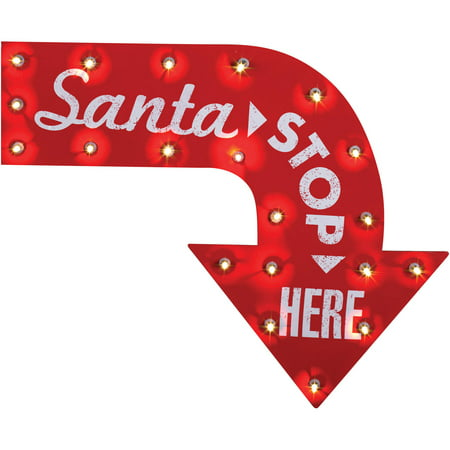 Santa Stop Here Vintage Sign Halloween Decoration