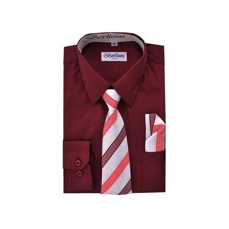 e8daa0b19 Berlioni Kids Boys Long Sleeve Dress Shirt With Tie and Hanky Burgundy -  Walmart.com